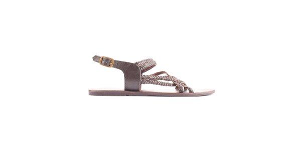 Dámske hnedé vrkočové sandálky Toscania