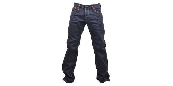 Pánske tmavé džínsy s oranžovým prešívaním RNT23