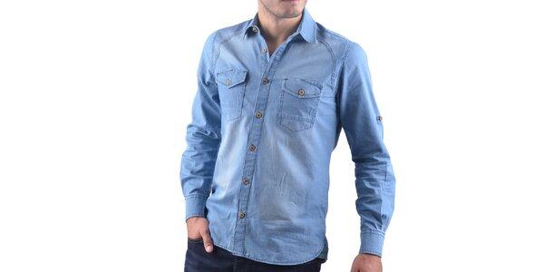 Pánska svetlá džínsová košeľa RNT23