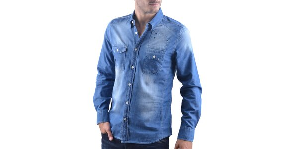 Pánska modrá šisovaná džínsová košeľa RNT23
