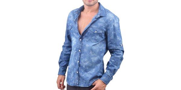 Pánska modrá džínsová košeľa s lístkami RNT23