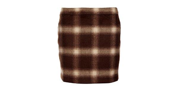 Hnedá károvaná sukňa Tommy Hilfiger