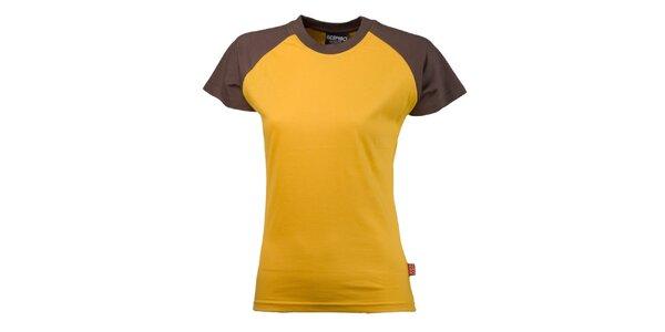 Dámske hnedo-žlté bavlnené tričko Respiro