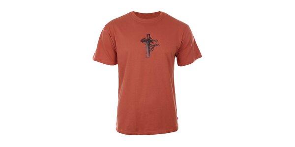 Pánske oranžové tričko s potlačou bicykla Respiro