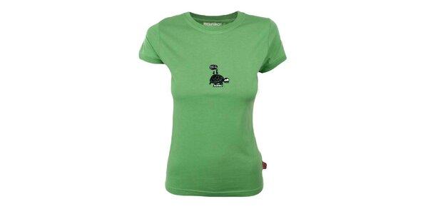 Dámske zelené tričko s korytnačkou Respiro