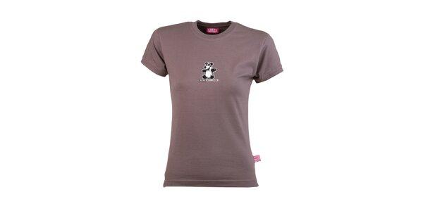 Dámske hnedé tričko s pandou Respiro