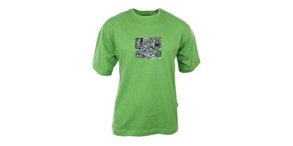 Pánske sýto zelené tričko s potlačou na hrudi Respiro