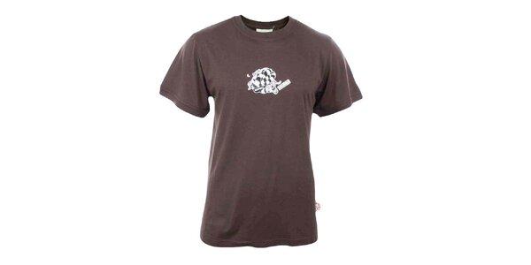 Pánske hnedé tričko s haďou potlačou Respiro