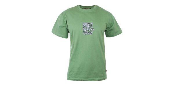 Pánske zelené tričko s potlačou na hrudi Respiro