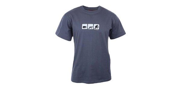Pánske modrošedé tričko s potlačou na hrudi Respiro