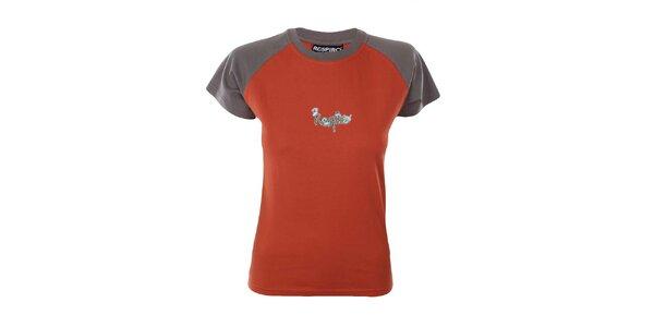 Dámske oranžovo-zelené tričko s hubičkami Respiro