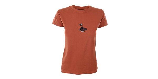 Dámske oranžové tričko s potlačou korytnačky Respiro
