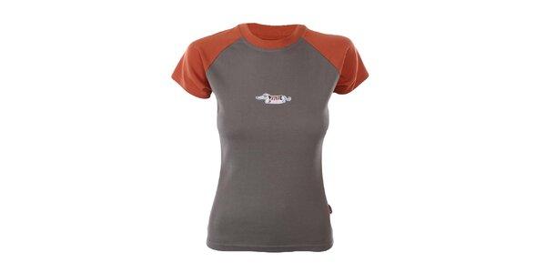 Dámske zeleno-oranžové tričko s jazvečíkom Respiro