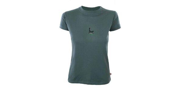 Dámske šedé tričko s potlačou mačky Respiro
