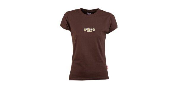 Dámske hnedé tričko s kvetinami Respiro