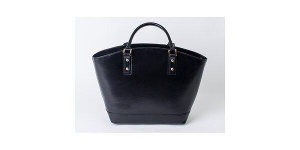 Dámska čierna kožená priestranná taška Pelleteria
