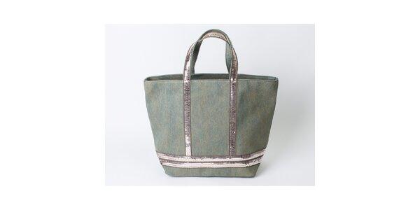 Dámska látková nákupná taška s flitrami Pelleteria