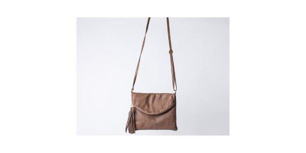 Dámska hnedá taška s klopou Pelleteria