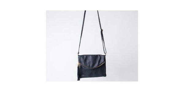 Dámska čierna taška s klopou Pelleteria