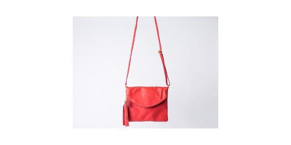 Dámska červená taška s klopou Pelleteria