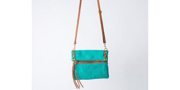 Dámska tyrkysová kabelka so vzorom Pelleteria