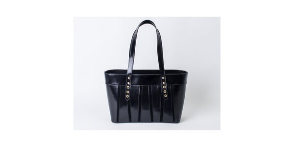 Dámska čierna kožená kabelka Pelleteria