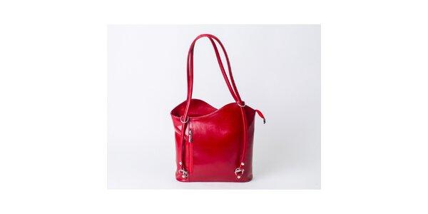 Dámska kožená kabelka v červenej farbe Pelleteria