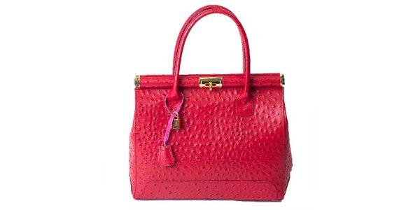 Dámska sýto ružová pštrosia kabelka Pelleteria