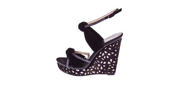 Dámske čierne sandále s bielymi kryštálikmi El Dantes