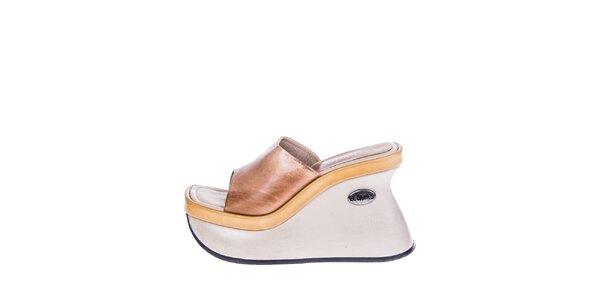 Dámske krémové topánky s hnedo-béžovými prvkami El Dantes