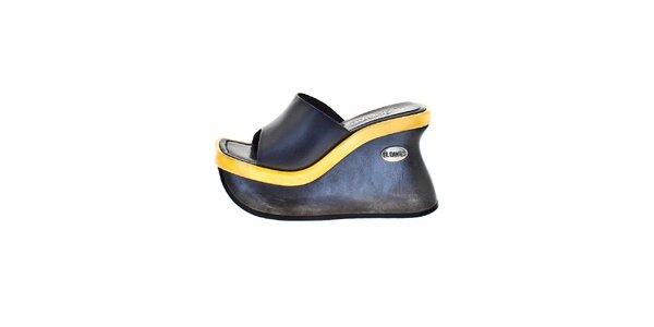 Dámske čierne topánky so žltým prvkom El Dantes