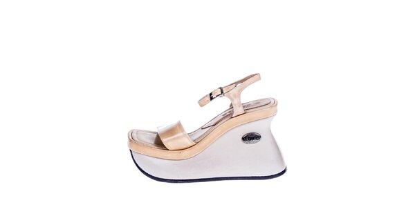 Dámske krémovo-béžové sandále na vysokom kline El Dantes