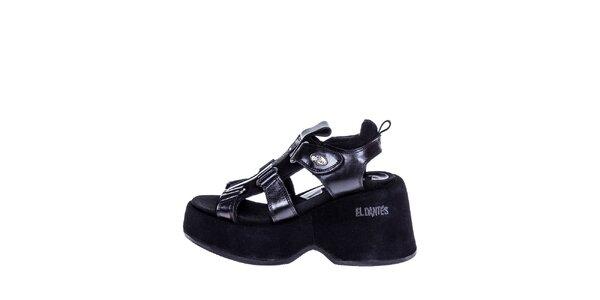 Dámske pevné sandále v čiernej farbe El Dantes
