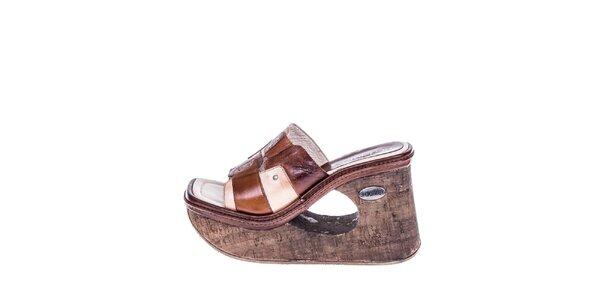 Dámske hnedé sandále s klinom El Dantes