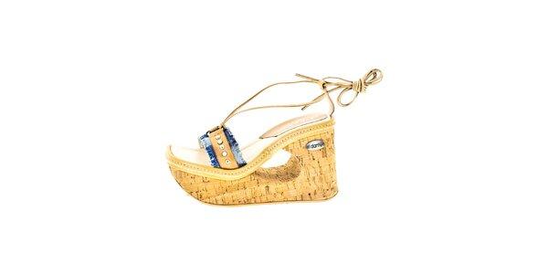Dámske hnedé sandále na kline s vykrojením El Dantes