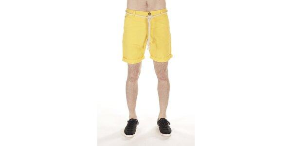 Pánske žlté šortky s opaskom v podobe lana SixValves