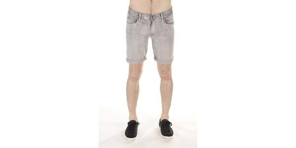 Pánske šedé džínsové kraťasy SixValves