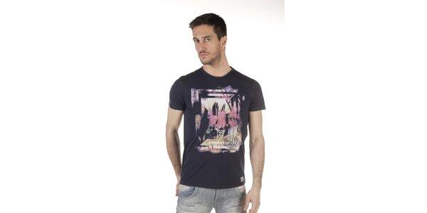 Pánske čierne tričko s pastelovou potlačou SixValves