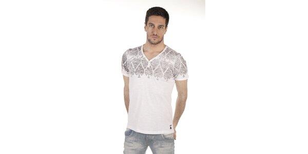 Pánske biele tričko s pokrovou potlačou SixValves