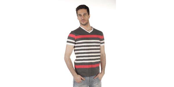 Pánske šedo-červeno-béžové pruhované tričko SixValves