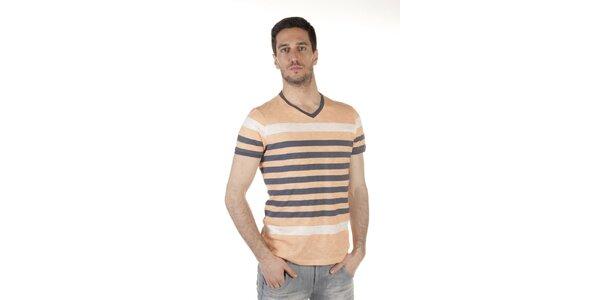Pánske béžovo-šedé pruhované tričko SixValves