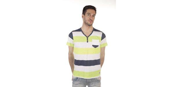 Pánske farebné bavlnené tričko s vreckom SixValves