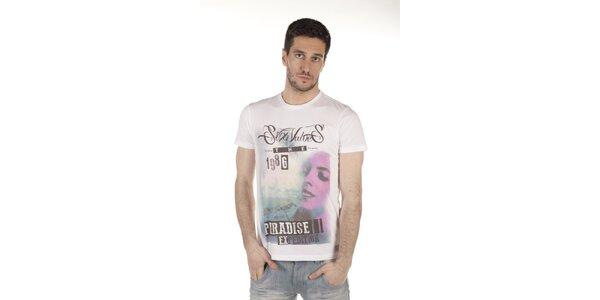 Pánske biele tričko s farebnou potlačou SixValves