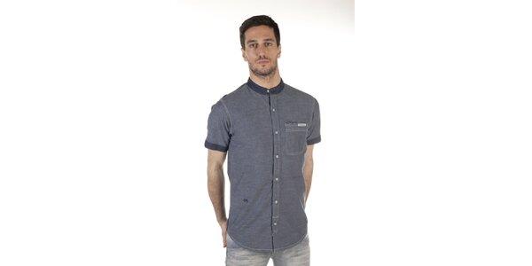 Pánska modrá košeľa bez goliera SixValves
