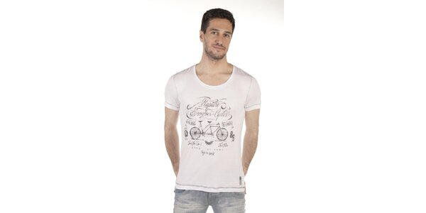 Pánske biele tričko s potlačou SixValves