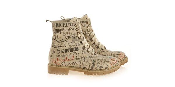 Dámske členkové šnúrovacie topánky s menami miest Elite Goby