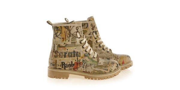 Dámske členkové šnúrovacie topánky s nevšednou potlačou Elite Goby