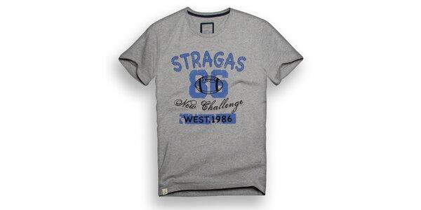 Pánske šedé tričko s modrou potlačou Paul Stragas