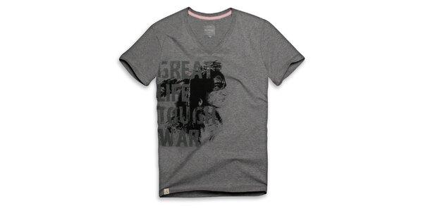 Pánske tmavo šedé tričko s nápisom Paul Stragas