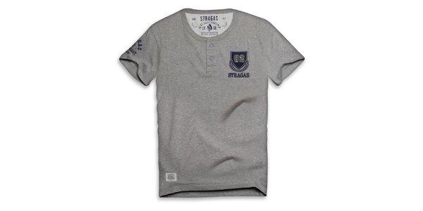 Pánske šedé tričko s výšivkou Paul Stragas